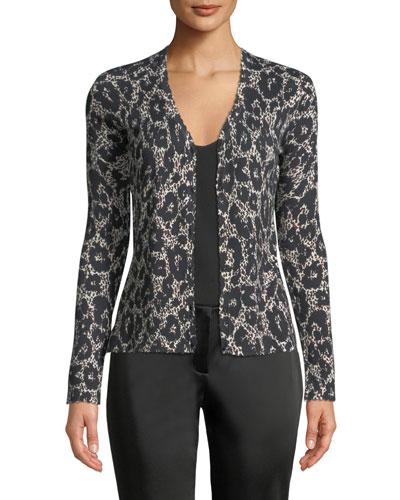 Button-Front Long-Sleeve Leopard-Print Cashmere-Silk Cardigan