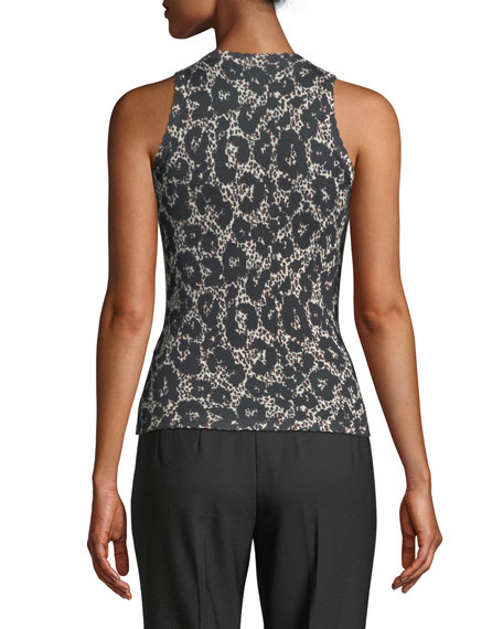 Crewneck Sleeveless Retro Leopard-Print Shell Top
