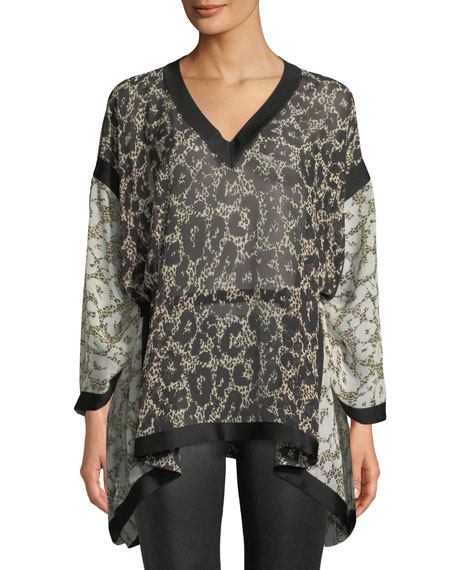 Long-Sleeve V-Neck Retro Leopard-Print Caftan Blouse w/ Self Belt
