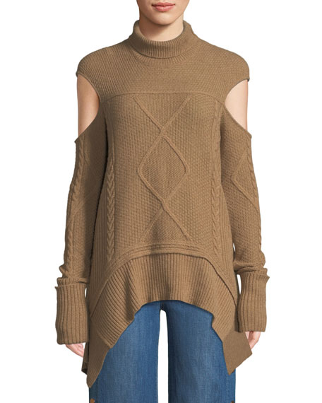 Mock-Neck Cold-Shoulder Cable-Knit Camel-Hair Sweater