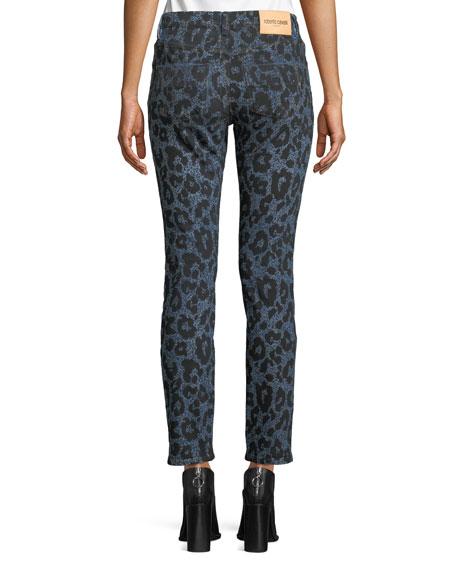 Leopard-Print Denim Skinny Jeans