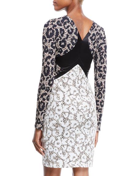 V-Neck Long-Sleeve Retro Leopard-Print Stretch-Jersey Dress