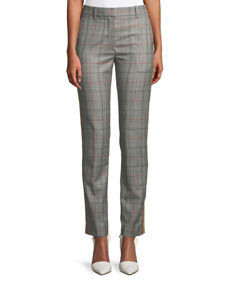 CALVIN KLEIN 205W39NYC Slim Straight-Leg Glen-Check Plaid Cropped