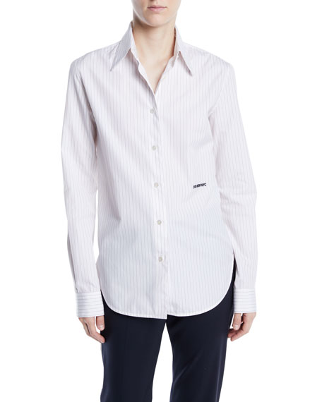CALVIN KLEIN 205W39NYC Long-Sleeve Button-Front Pinstripe Shirt