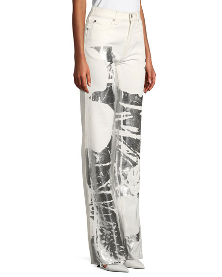 Five-Pocket Straight-Leg Jeans w/ Andy Warhol Flower
