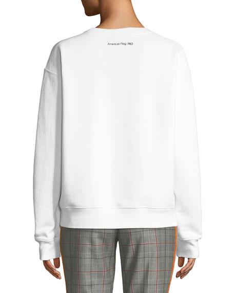 Andy Warhol American-Flag Photo Print Crewneck Long-Sleeve Sweatshirt