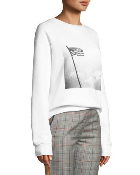 Andy Warhol American-Flag Photo Print Crewneck Long-Sleeve Sweatshirt