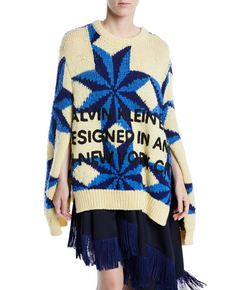 Crewneck Star-Intarsia Open-Underarm Oversized Wool Sweater