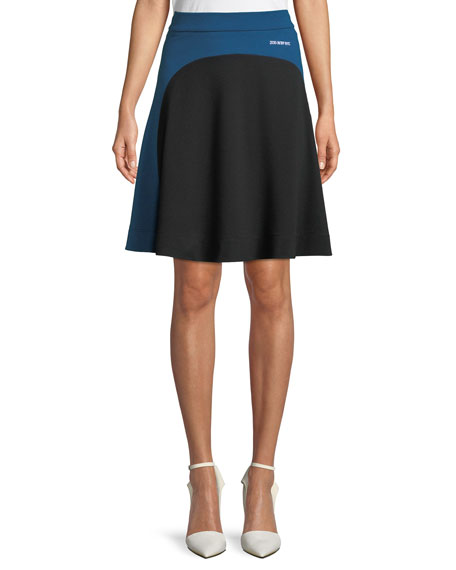 Flippy Back-Zip A-Line Jersey Knee-Length Skirt
