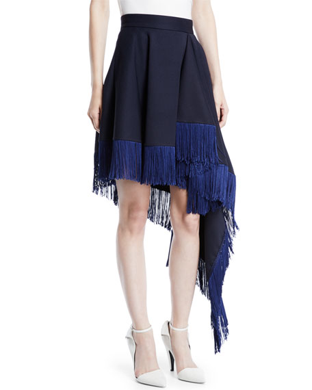 Asymmetric Flag-Side Fringe Back-Zip Skirt
