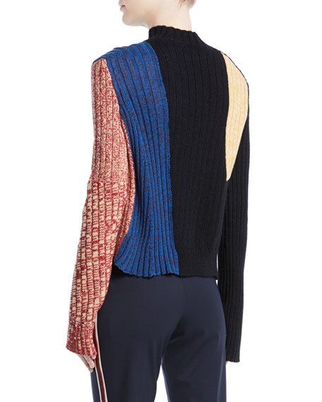 Mock-Neck Long-Sleeve Patchwork Ribbed Wool Sweater