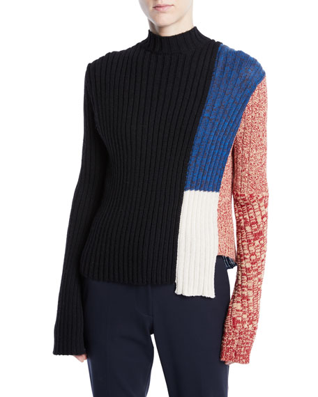 CALVIN KLEIN 205W39NYC Mock-Neck Long-Sleeve Patchwork Ribbed