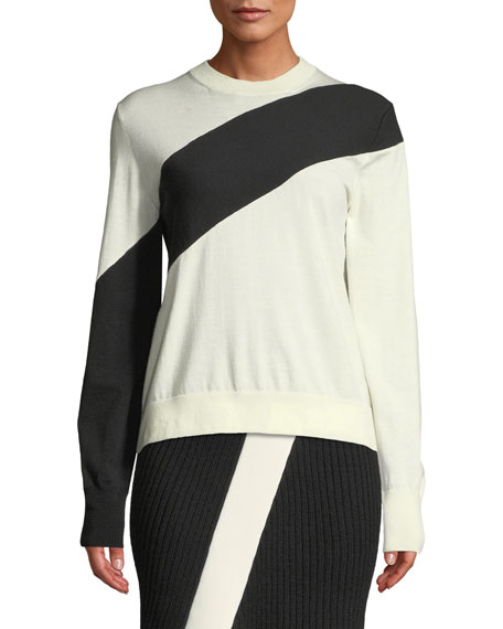 Crewneck Long-Sleeve Colorblock Sweater