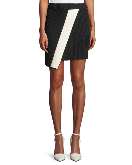 CALVIN KLEIN 205W39NYC Ribbed Asymmetric Hem Mini Skirt