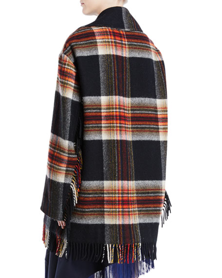 Double-Breasted Boxy Plaid Wool Jacket w/ Fringe Trim