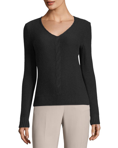 Kimberly V-Neck Cable-Knit Baby Cashmere Sweater