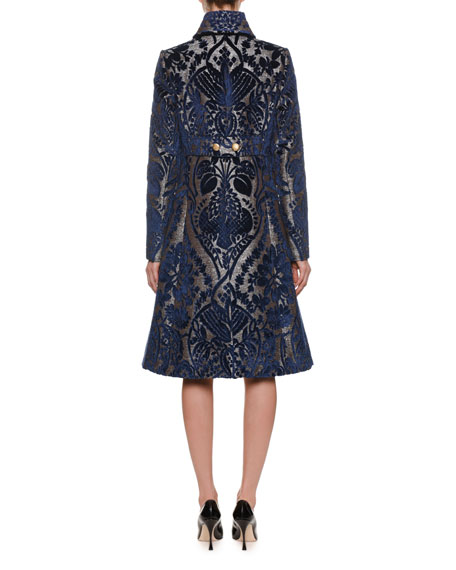 Single-Breasted Button-Front Velvet Damask Jacquard Coat