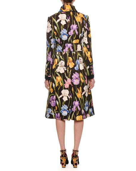 Iris-Print Brocade Coat w/ Rolled Collar