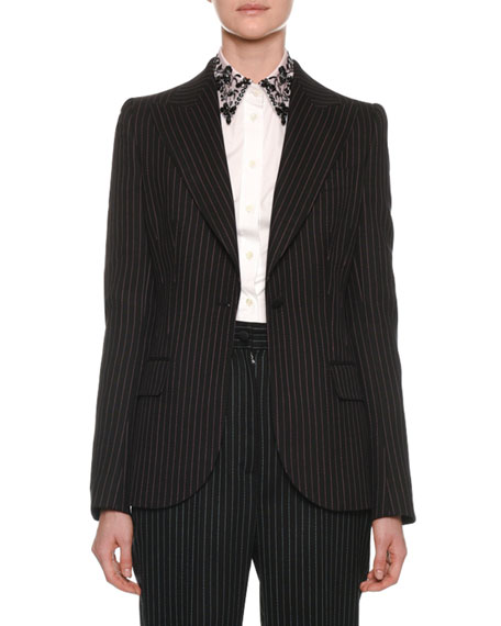 Dolce & Gabbana One-Button Fitted Pinstripe Wool Jacket