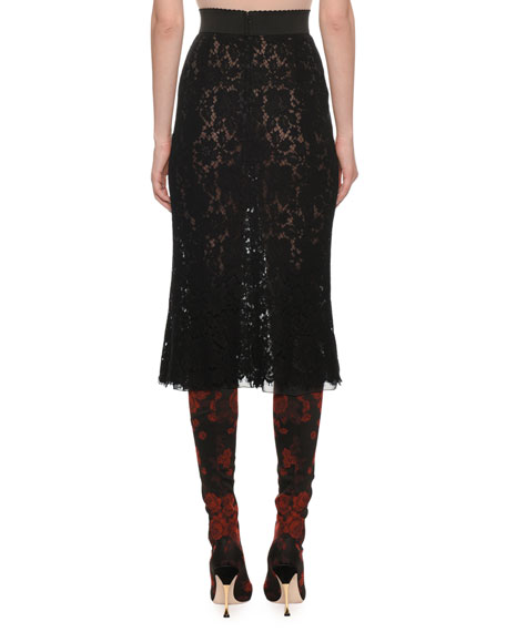 A-Line Lace Midi Skirt