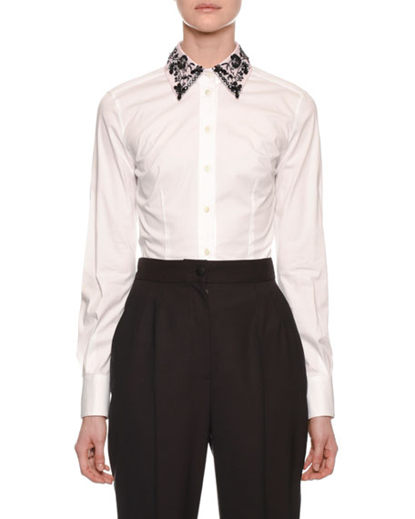 Dolce & Gabbana Long-Sleeve Button-Front Cotton Blouse with