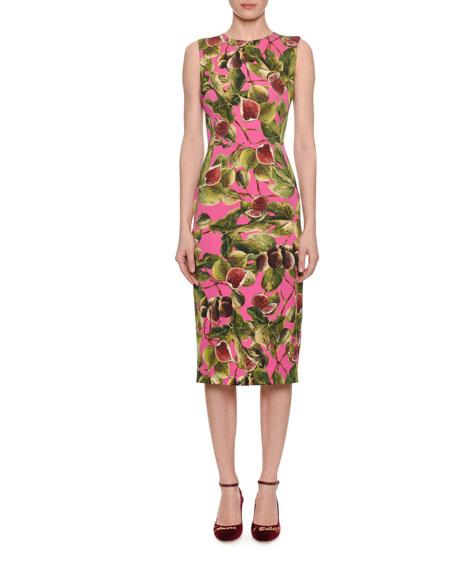 Dolce & Gabbana Sleeveless Fig-Print Charmeuse Midi Sheath