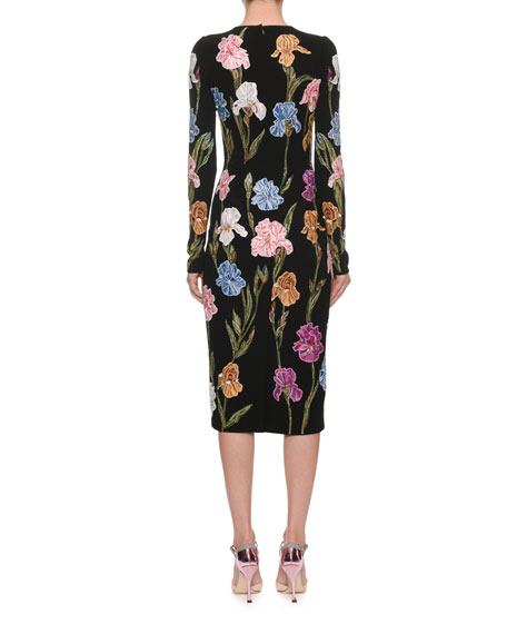 Long-Sleeve Floral-Embroidered Pencil Midi Dress