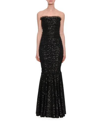 Strapless Stretch Sequin Evening Gown