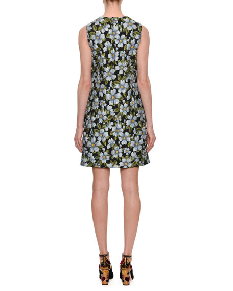 Sleeveless A-Line Floral-Jacquard Dress