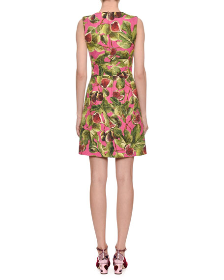Sleeveless A-Line Fig-Print Brocade Dress