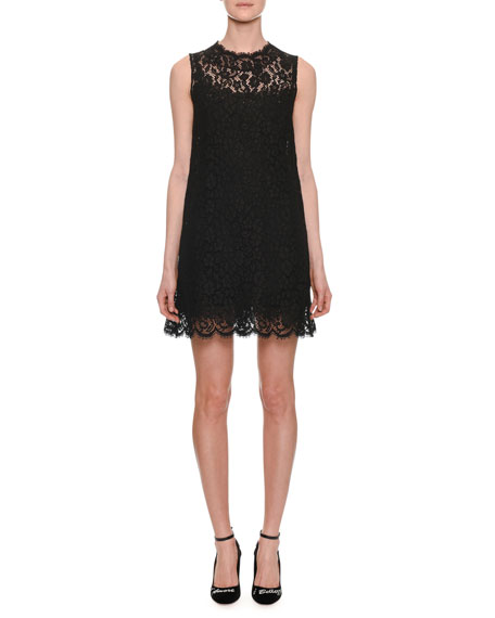 High-Neck Sleeveless Lace Shift Dress