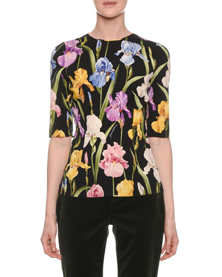 Elbow-Sleeve Iris-Print Fitted Charmeuse Top