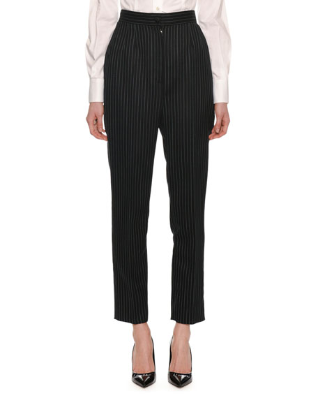 High-Waist Straight-Leg Pinstripe Pants