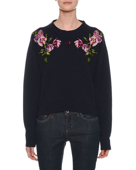Crewneck Long-Sleeve Cashmere Sweater with Floral & Heart Applique