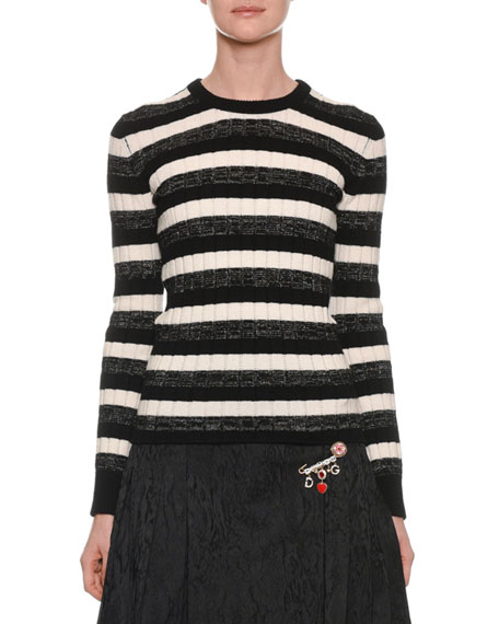 Long-Sleeve Crewneck Striped Ribbed Wool Sweater