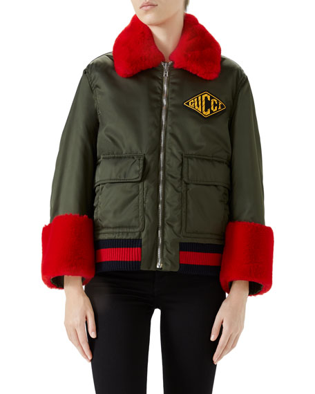 Gucci Nylon Gabardine Web-Trim Coat w/ Faux-Fur Details