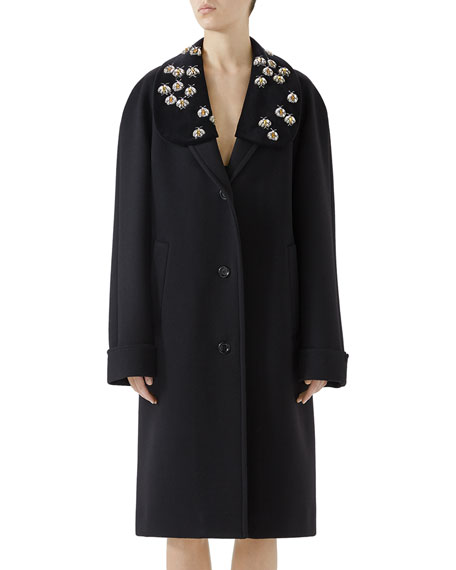 Bee Embroidered Wool Overcoat