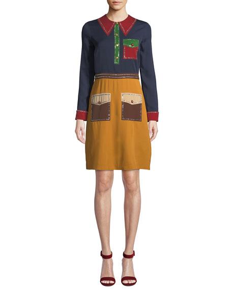 Long-Sleeve Trompe L'Oeil Georgette Dress in Multi Pattern