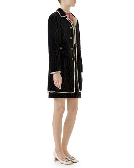 Woven Moire Velvet Coat w/ Pearly Trim