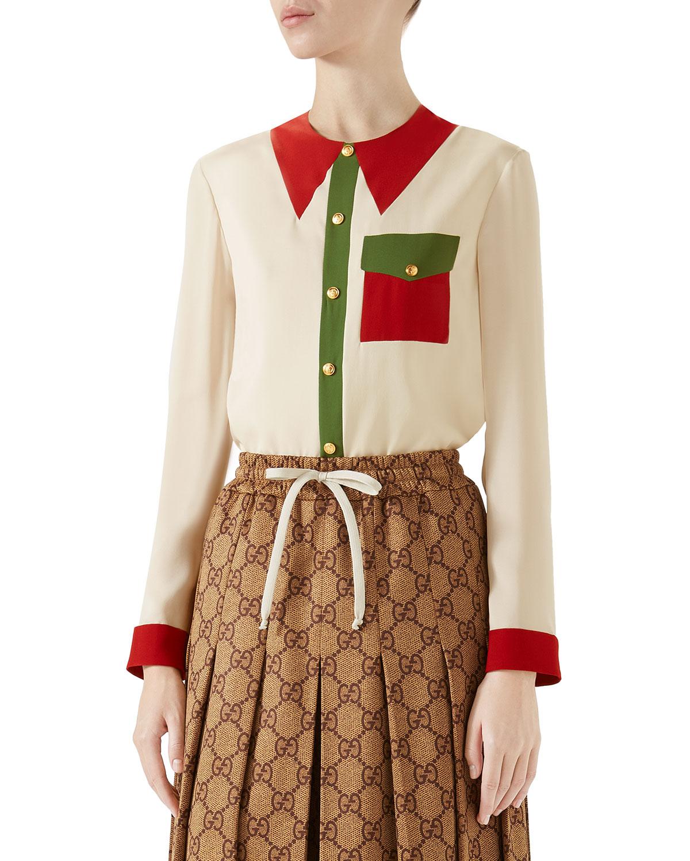 ccf5e856b084fe Gucci Long-Sleeve Button-Front Colorblock Silk Blouse