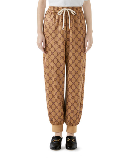 Gg-Intarsia Jersey Jogging Bottoms in Brown