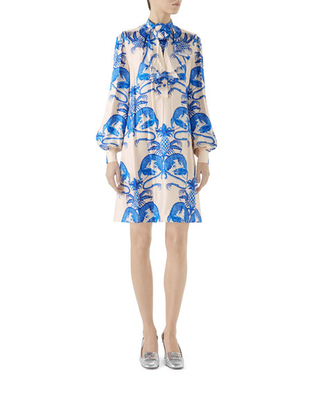 Dragon-Print Flounce-Neck Twill Dress