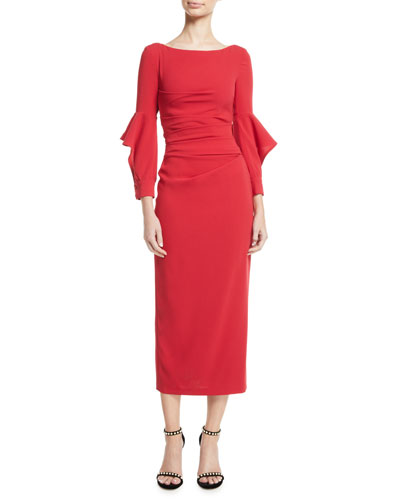 Rodano Long Ruffle-Sleeve Ruched Stretch-Jersey Calf-Length Dress