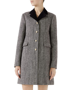 1002bfc0b54d Gucci Velvet-Collar Wool Coat w/ Pearly Buttons