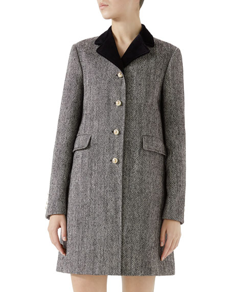 Velvet-Collar Wool Coat W/ Pearly Buttons in Grey