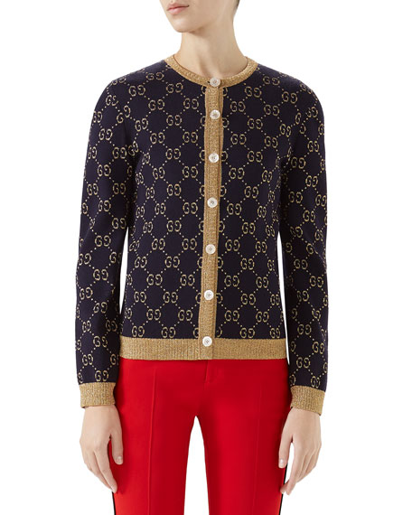 Crewneck Button-Front GG Metallic Jacquard Cardigan