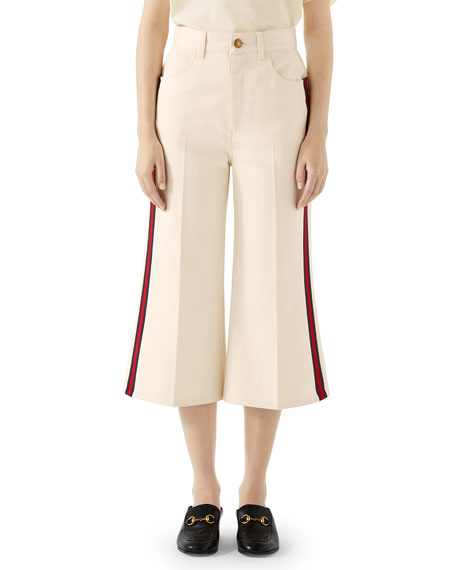Washed Cotton Web-Trim Culotte Trousers