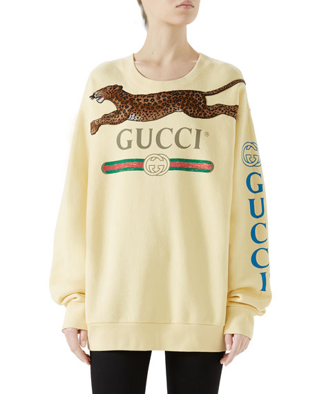 Logo & Panther Long-Sleeve Sweatshirt in Yellow