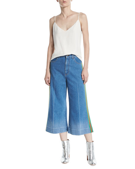 Denim Web-Trim Culotte Trousers