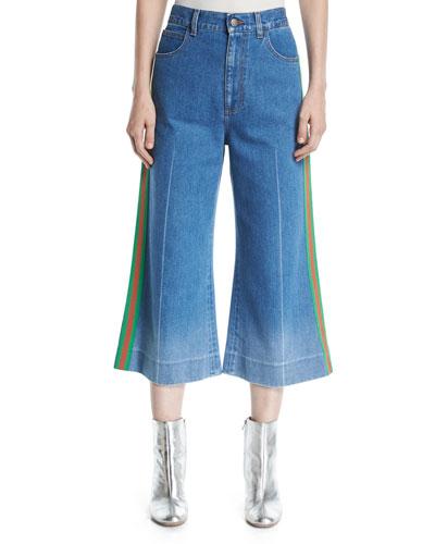 Denim Web-Trim Culotte Trousers